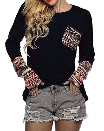 POGTMM Women's Plus Size Long Sleeve T-Shirt Tops (XL, Black)