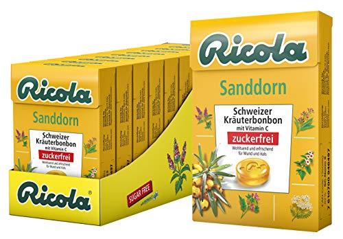 Ricola Sandorn, Schweizer Kräuterbonbon, 10 x 50g Böxli, ohne Zucker, Wohltuend und erfrischender Genuss