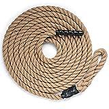 DREAMADE Kletterseil Klettertau mit Gummigriffen, Trainingsseil Clibing Rope 3,8cm Durchmesser für Fitness- und Krafttraining, 3-strängiges Juteseil Übungseil Schaukelseil (3 M)
