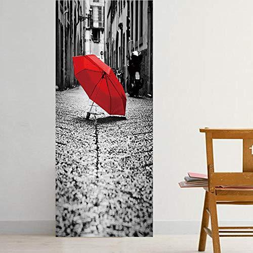 JIANXIQT deurstickers voor binnendeuren, citaat muursticker straat rode paraplu 3D badkamer deur sticker Vinyl Pvc waterdichte Scandinavische kunst stickers voor woonkamer slaapkamer schuifdeuren muurschildering 90x200cm