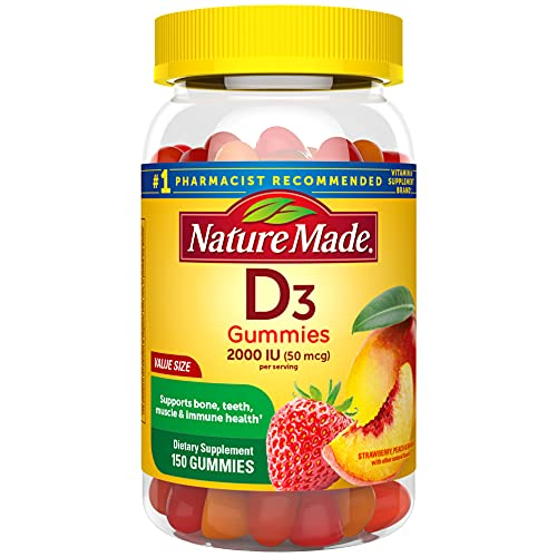 Nature Made Vitamin D3, 150 Gummies, Vitamin D 2000 IU (50 mcg), Vitamin D Gummies For Adults Helps Support Immune Health, Strong Bones and Teeth, & Muscle Function, 250% of Daily Value for Vitamin D
