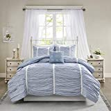 Madison Park Ana 4 Piece Comforter 100% Cotton Printed Stripe Ruched with Lace Accent-Embroidered Pillow Shabby Chic Down Alternative Hypoallergenic All Season Bedding-Set, Full/Queen, Blue