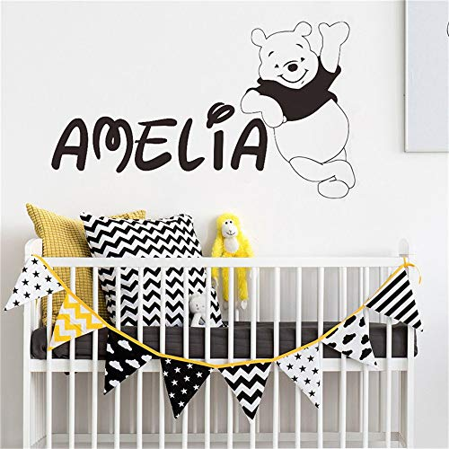 Winnie L'Ourson Sticker Personnalisé Nom Winnie L'Ourson Chambre Enfants Sticker Bébé Pépinière Nom Personnalisé Ours Décor À La Maison Mural