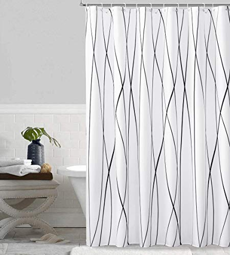 SOFJAGETQ Waterproof Shower Curtain Extra Long 72 x 84 Inches Modern Stripe Fabric Shower Curtains for Bathroom, Black and White Cloth Shower Curtain Set