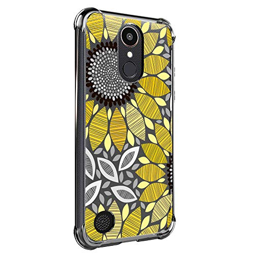 Case for LG K20 Plus, LG K20, LG K20 V, LG K10 2017, LG LV5, Harmony, VS501, Grace LTE for Girls N Women Clear with Cute Sunflower Floral Design Shockproof Bumper Protective Flowers Cell Phone Cover