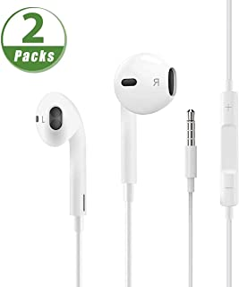 3.5mm Aux Wired Jack Headphones【2 Pack】 Headphones/Earphones/Earbuds Built-in Microphonen & Volume Control,Compatible iPhone/iPod/iPad/Android/MP3/MP4 Headphones Plug and Play Mobile phone accessories