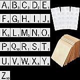 26 Pièces 4 Pouces Pochoir de Lettres de Tuile Pochoirs Alphabet, 26 Pièces Tranches de Bois Carré non Fini Vierges et 3 Pièces Mastic Collant Transparent pour Décoration Murale Projets de Bricolage