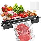 YESBAY Vacuum Sealer Machine, 40Kpa Compact Food Sealer Vacuum, Automatic Machine Dry Moist Food Sealer, Vacuum Air Sealing System for Food Saver with 10 Vacuum Bags(US Plug)