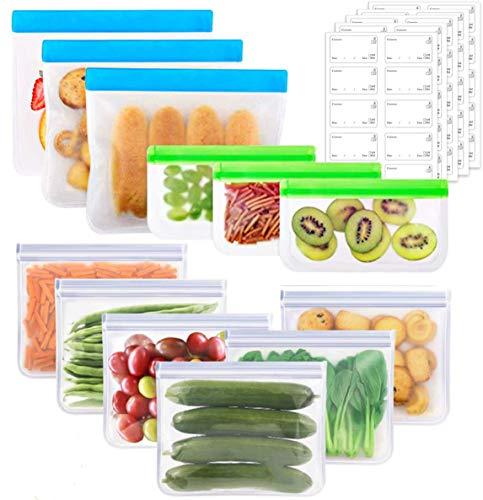 OrgaWise Borsa per Alimenti Riutilizzabile, Sacchetti con Cerniera in Silicone per la Conservazione degli Alimenti, Sacchetti di Plastica PEVA per la Conservazione di Alimenti Domestici (12pcs)