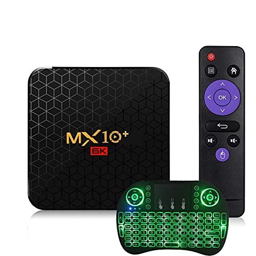 GEQWE Android TV Box, MX10 Pro 4GB RAM 64GB ROM TV Box Android 9.0 RK3318 Soporte De Cuatro Núcleos 2.4G / 5G Dual WiFi BT5.0 USB2.0 4K HDMI Smart TV Box con Mini Teclado Inalámbrico,4gb+32gb