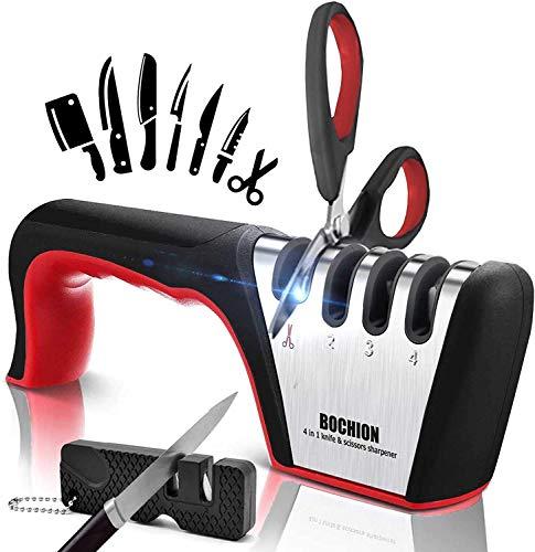 Afilador de Cuchillos, 4 en 1 Afilador Cuchillos Profesional Con 2 en...