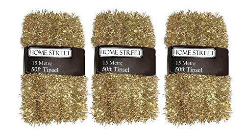 Extra largo 45m, 150pies, espumillón por Homestreet® en una elección de rojo, plata o dorado de Navidad...