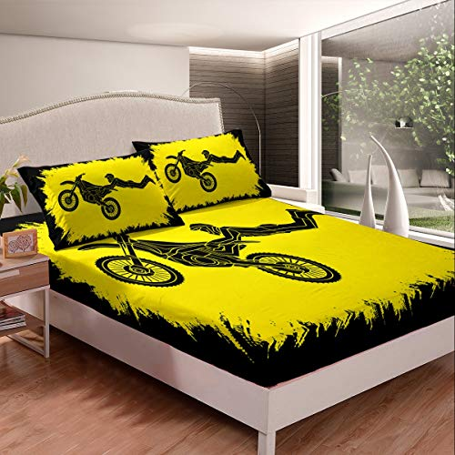 Loussiesd Extreme Sports Theme Bedding Set for Boys Youth Adults Motocross Rider Bed Sheet Set Motorcycle Pattern Fitted Sheet Motorbike Decor Bed Cover Yellow Double Size 3Pcs