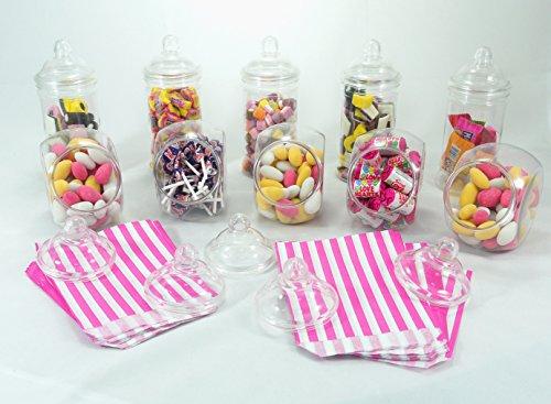Paquete de fiesta Sweet Shop de Britten & James®. 10 frascos de plástico cristalino con tapas de rosca estilo victoriano. Ideal para mesas de boda, fiestas, cumpleaños. 100 bolsas gratis.