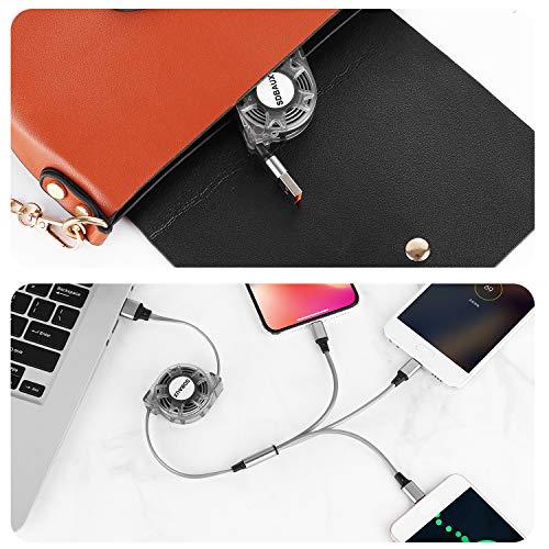 SDBAUX Multi 3 in 1 USB Kabel 2Stück/1m,Schnelle Aufladung Einziehbares Ladekabel mit 8Pin Typ C Micro USB Port, Kompatibel mit Phone 12 11 Pro Max Xs X 8, Samsung Galaxy Google Pixel LG(Nur Aufladen)