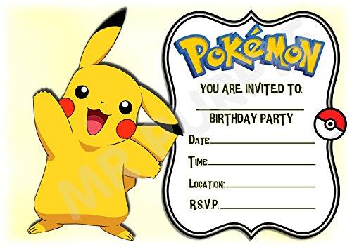 Pokemon Verjaardagsfeestjes Uitnodigingen - Landschap Frame Pikachu Waving Design - Feestbenodigdheden/Accessoires (Pak van 12 A5 Uitnodigingen) WITH Envelopes