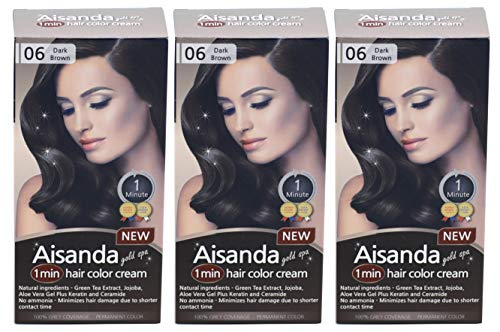 Aisanda/Assanta Gold Spa 1 Minute Hair Color Cream, Fast Natural Hair Dye For Women & Men With Herbal Ingredients, Ammonia Free (3Pack60g, Dark Brown)