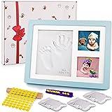Amzeeniu Kit de Marco Para Manos Marco huellas Kit de Madera Marco de Fotos Bebé 3D Marco de Huellas para Niños con Arcilla Moldes Letras Números Para Bebé Recién Nacido Para Manos y Huellas de bebé