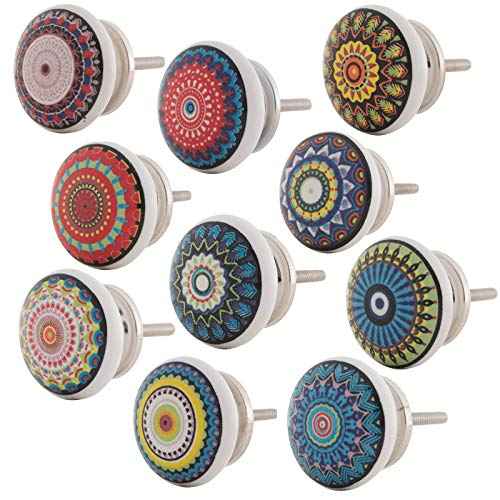 Knober Set 10 Stück Möbelknöpf Keramik Mandala Energy Shabby-Chic Schrankknöpfe Türgriff (1. Buntes Set 10 Stück)