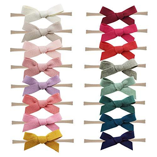 16PCS Baby Nylon Headbands Hairbands Hair Bow Elastics for Baby Girls Newborn Infant Toddlers Kids