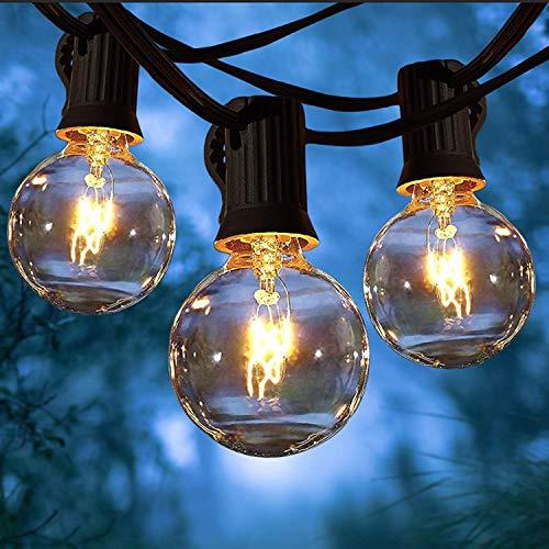 Yuusei Lichterkette Außen 15M, 25er G40 Glühbirnen mit 2 Ersatzbirnen, Glühbirnen Lichterkette Außen Warmweiß Garten Lichterketten Außen Wasserdichte Für Zimmer, Hochzeit, Balkon, Party