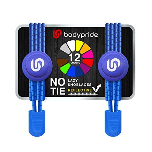 bodypride Premium Lazy Laces [ 12 Farben ] Elastische Schnellverschluss - Schnürsenkel ohne Binden | Schnellschnürsystem mit Reflektoren für Sport, Marathon, Triathlon, Kinder, Senioren | Blau