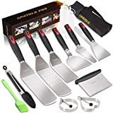 Griddle Accessories Kit,Long Handles Stainless Steel Griddle Spatula Set for Flat Top Grilling Kit Professional Spatulas Tool Kit for BBQ Gift Idea for Men Dad Husband Father Chef
