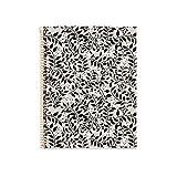 Miquel Rius - Cuaderno A4 - Tapa Extradura, 4 franjas de color, 120 Hojas Rayas Horizontales, Papel 70g Microperforado con 4 Taladros para 4 anillas, Color Gris, Diseño Floral