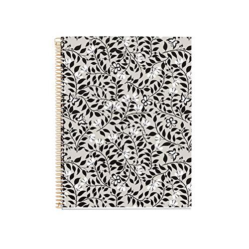 Miquel Rius - Cuaderno A4 - Tapa Extradura, 4 franjas de color, 120 Hojas Cuadrícula, Papel 70g Microperforado con 4 Taladros para 4 anillas, Color Gris, Diseño Floral