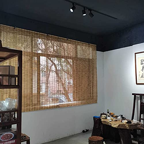 LXUXZ Persianas de Caña Persianas de Bambu Exterior Ventanas Y Puertas Estores Enrollables Sombreado Protección de La Privacidad Toldo Vertical Premium Retro Fácil de Instalar