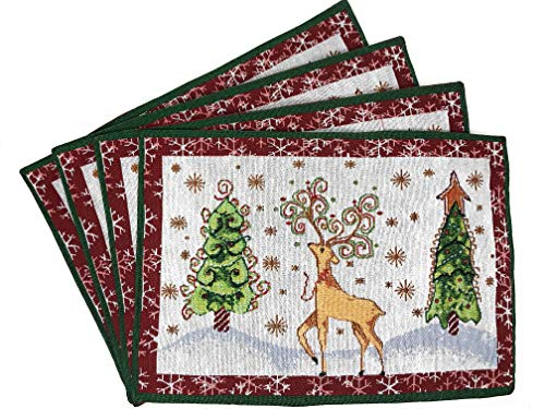 """Tache Winter Forest Reindeer Antique Vintage Christmas Eve White Snowflakes Holiday Season Decorative Woven Tapestry Placemats, 13x19"""""""