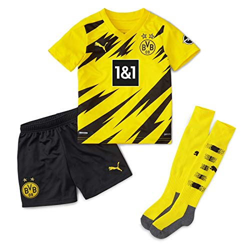PUMA T-Shirt BVB Home Mini-Kit w.Sponsor w.Socks&Hanger New, Cyber Yellow-Puma Black, 98, 931112