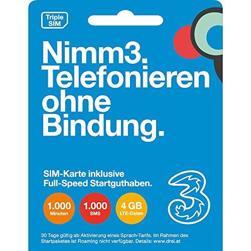 Nimm 3 die Wertkarte, SIM Karte-SIM, MicroSIM, NanoSIM, Telefonie Startguthaben 1.000 Minuten, 1.000 SMS, 4GB LTE, Internet Startguthaben 10 GB LTE, jeweils um 15 € und 30 Tage lang gültig