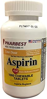 Pharbest Aspirin 81mg Chewable Orange Tablets 1000 Count Per Bottle
