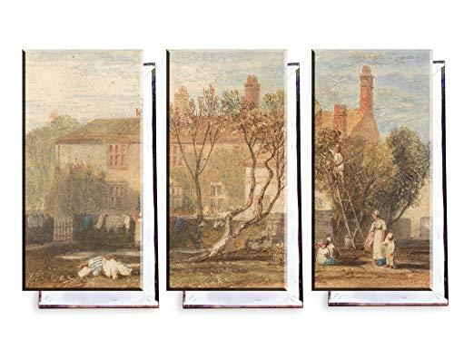 Unified Distribution J. M. W. Turner - Steeton Manor House, in der Nähe von Farnley - Klassisches Gemälde - Replik auf Leinwand Dreiteiler (120x80 cm)