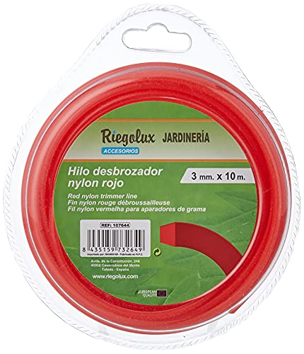 Riegolux 107644 Hilo Desbrozadora Nylon Cuadrada, Rojo, 3 mm x 10 m