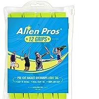 Alien Pros テニスラケットグリップテープ(12グリップ)–プレカットで軽量なタックフィールテニスグリップ - テニスオーバーグリップテープ テニスラケット - ラケットに巻いて高性能にしましょう。(12グリップ,イェロー)