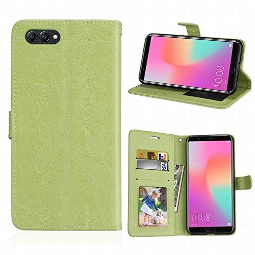 Laybomo Schuzhülle für Huawei Honor View 10/V10 Hülle Ledertasche Weiches Gummi Silikon TPU Beutel Stehen Bilderrahmen Brieftasche Schale Tasche Handyhülle für Honor View 10(Grün)