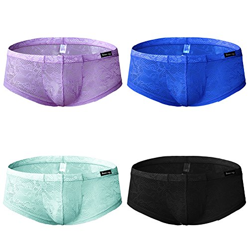 sandbank Men's Sexy Lace Panties Translucent Nylon Pouch Boxer Briefs Underwear (US M, 4 Pack-Mix Color #1)