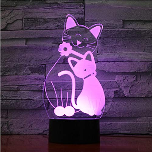 Mignon Flash Cat Lampe 7 Couleurs Changeante Ambiance Lumière 3D Kitty Mood Touch Lampe Décor À La Maison Enfants Cadeaux