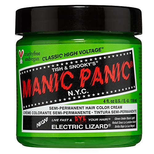 Manic Panic Electric Lizard Hair Dye - Classic High Voltage - Semi Permanent Hair Color - Neon Lime Green Shade - Glows in Blacklight - Vegan, PPD & Ammonia-Free - For Coloring Hair on Women & Men