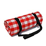 DelightFashion Picnic Blanket Foldable Sleeping Mat Waterproof Camping Hiking Beach Rug Travel Pocket Pad Red and White Checkered