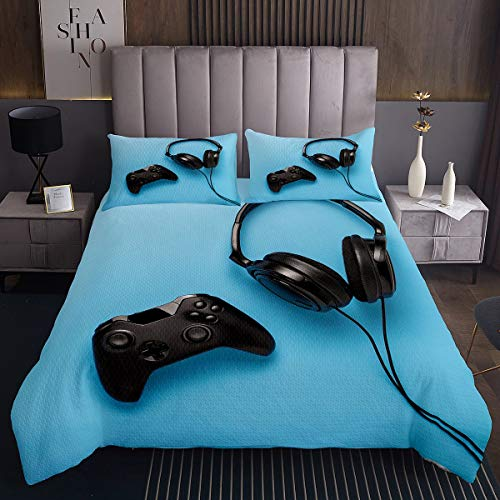 Gamepad - Juego de funda acolchada para auriculares de color negro, para niños, niñas, videojuegos, juego de controlador, ultra suave, decoración moderna, consola de videojuegos, acolchado, color azul