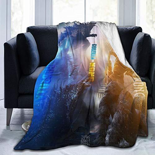 WPORF Godzilla vs King Kong Super Soft Micro-Blanket Skin-Friendly Flannel Blanket Four Seasons Lightweight Blanket. Godzilla vs King kong2-80 x60