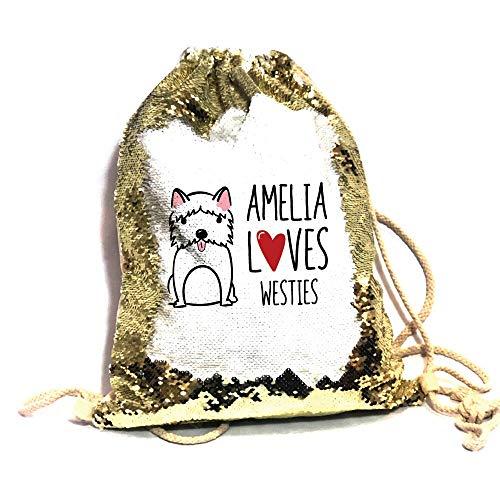 Bantersaurus Love Westies - Bolsa de lentejuelas con cordón para caminantes, regalo personalizado para amantes del perro, color dorado
