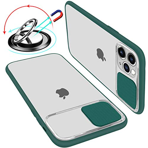 Case With Camera Cover Compatible With iPhone 11 Sliding Lens Camera Protector Matte Translucent Soft Edges Shockproof Anti-Scratch Case With Ring Stand (Support Magnetic Car Phone Mount) Green