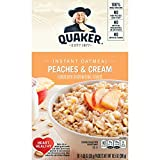 Quaker Instant Oatmeal, Peaches & Cream, Breakfast Cereal, 10 (1.23 Oz) Packets Per Box (Pack of 4)