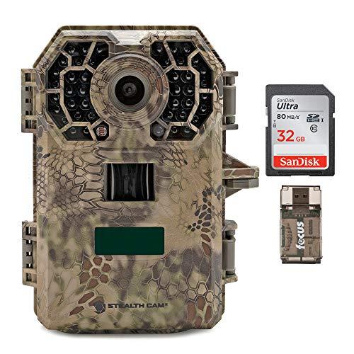 Stealth Cam 2020 G42NG 24MP Trail Camera and Memory Card Bundle. No-Glow Flash, 100-Ft. IR Range, Kryptek Camo (3 Items)