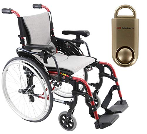 Karman S-Ergo 305 Ultra Lightweight Ergonomic Wheelchair, Quick Release Wheels, 16' Seat Width in Red Frame & Free 130 dB Gold Safety Alarm!