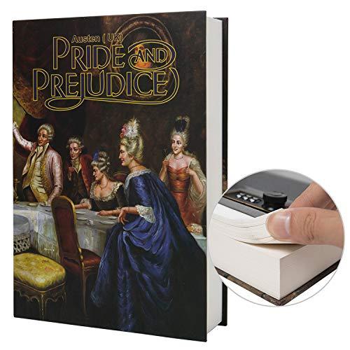 Caja de almacenamiento segura de libro de desviación de papel real, caja fuerte secreto de Diccionario con cerradura de código/llave, caja fuerte oculta de libro de tapa (clave, orgullo y prejuicios)